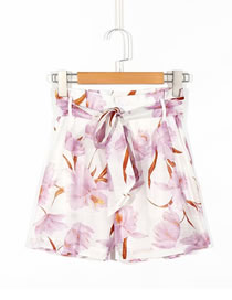Fashion Printing Floral Print Lace-up Shorts