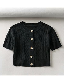 Fashion Black Jacquard Single Breasted Sweater