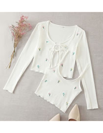 Fashion White Embroidered Cardigan Two-piece Top