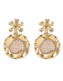 Fashion Golden Round Earrings With Alloy Pearls And Diamonds