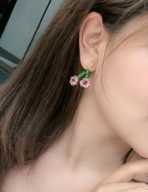 Fashion A Red Color Crystal Flower Cherry Earrings