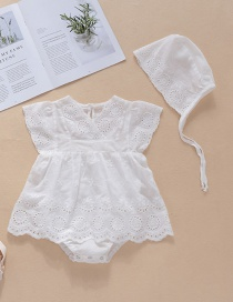 Fashion White Sleeveless Cotton V-neck Hollow Lace Baby Clothes