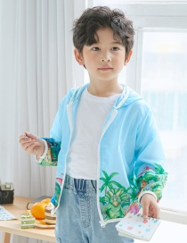 Fashion Blue Dinosaur Flower Dinosaur Print Hooded Sun Protection Clothing