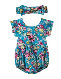Fashion Blue Bag Fart Flower Flying Sleeve Romper Send Hair Band