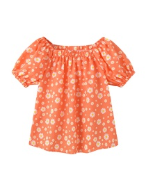Fashion Orange Children's Daisy Shoulder Short Sleeve Shirt