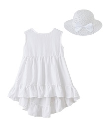 Fashion White Hood Irregular Children's Dress