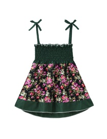 Fashion Green Floral Panel Dress