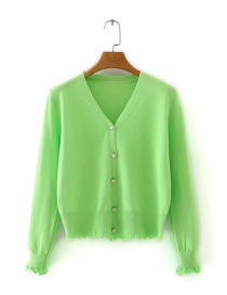 Fashion Green Button V-neck Cardigan Sweater