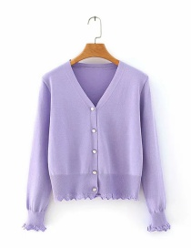 Fashion Purple Button V-neck Cardigan Sweater