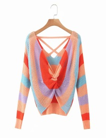 Fashion Orange Color-striped Knotted Backless Long-sleeved Sweater