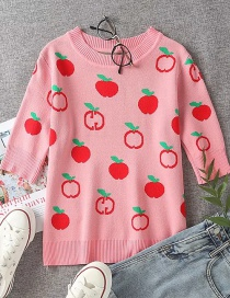 Fashion Pink Apple Pattern Sleeves Top