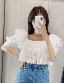 Fashion White Openwork Embroidered Top