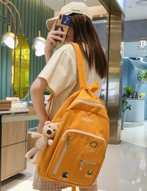 Fashion Yellow Send Bear Pendant Embroidered Cartoon Backpack