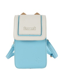 Fashion Light Blue Stitching Contrast Cat Paw Clamshell Shoulder Bag