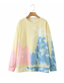 Fashion Yellow Floral Print Crew Neck Sweater
