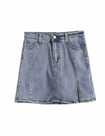 Fashion Blue Denim Skirt With Side Slits