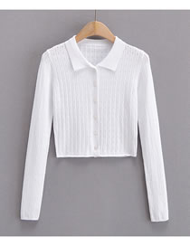 Fashion White Cutout Polo Collar Knitted Long Sleeve Top