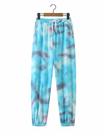 Fashion Blue Printed Lace-up Straight Trousers
