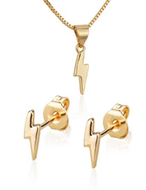 Fashion Golden Glossy Glitter Gold-plated Earring Necklace Set