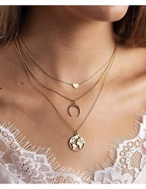 Fashion Golden Love Crescent Map Alloy Multilayer Necklace