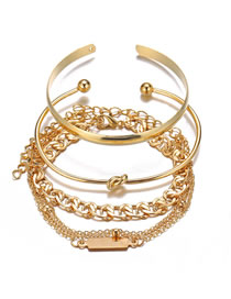 Fashion Golden Chain Ring Playing With Gold Bracelet Set