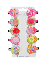 Fashion Fruit Lollipop Resin Fruit Lollipop Alloy Hair Clip Set