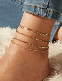 Fashion Alloy Anklet Thin Chain Multi-layer Alloy Anklet Set