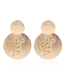 Fashion Golden Frosted Alloy Plum Embossed Round Earrings