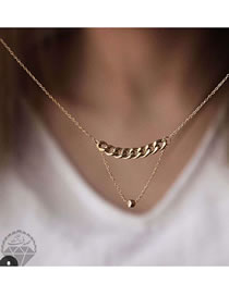 Fashion Golden Alloy Round Bead Stitching Thick Chain Alloy Necklace
