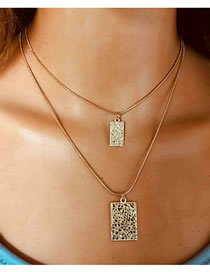Fashion Golden Geometric Chain Embossed Square Double Necklace