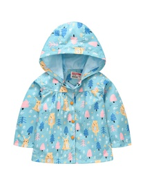 Fashion Sky Blue Spring And Autumn Sleeve Printed Hooded Jacket