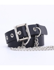 Fashion Black + 3 Chain Chain-embedded Pierced Square Buckle Belt
