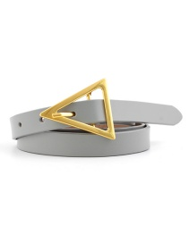Fashion Gray Triangle Buckle Shape Thin Belt