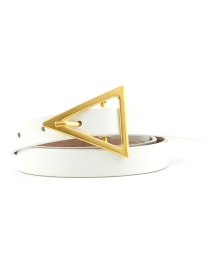 Fashion Creamy-white Triangle Buckle Shape Thin Belt
