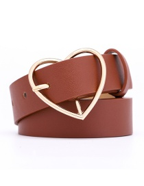 Fashion Red-brown Love Pin Buckle Belt
