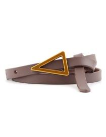 Fashion Dark Khaki Triangle Knotted Sugar Thin Belt