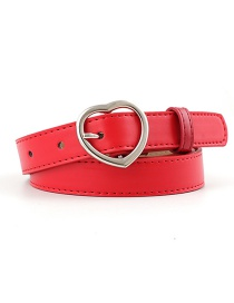 Fashion Red-silver Buckle Heart-shaped Heart Buckle Belt