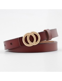 Fashion Camel Double Buckle Buckle Thin Belt