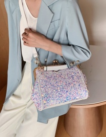 Fashion White Shoulder Crossbody Bag With Sequin Clip