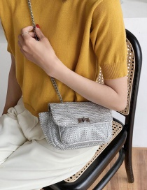 Fashion Silver One-shoulder Crossbody Bag With Diamond Chain Lock