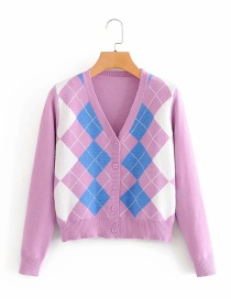 Fashion Pink Diamond Stitching Contrast Color Cardigan