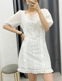 Fashion White Openwork Embroidered Dress With Wood Ears