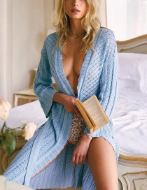 Fashion Blue Knit Cardigan Dress With Mesh Belt
