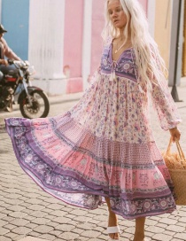 Fashion Color Floral Print Tethered Lace Contrast Dress