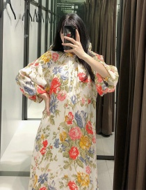Fashion Color Mixing Floral Print Round Neck Dress