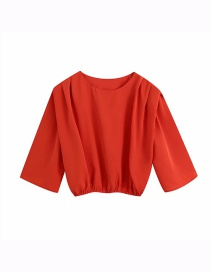 Fashion Red Solid Color Top With Shoulder Pads And Round Neck