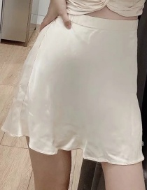Fashion Champagne Silk Satin Solid Skirt