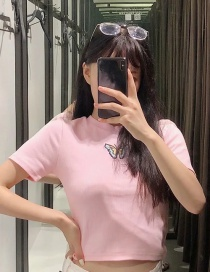 Fashion Pink Short Embroidered Butterfly Embroidered T-shirt