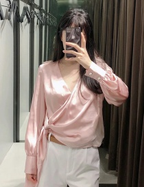 Fashion Pink Double-breasted Silk Satin Hem Knotted Deep V-neck Top