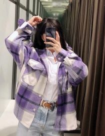 Fashion Purple Checked Contrast Suit Wool Coat